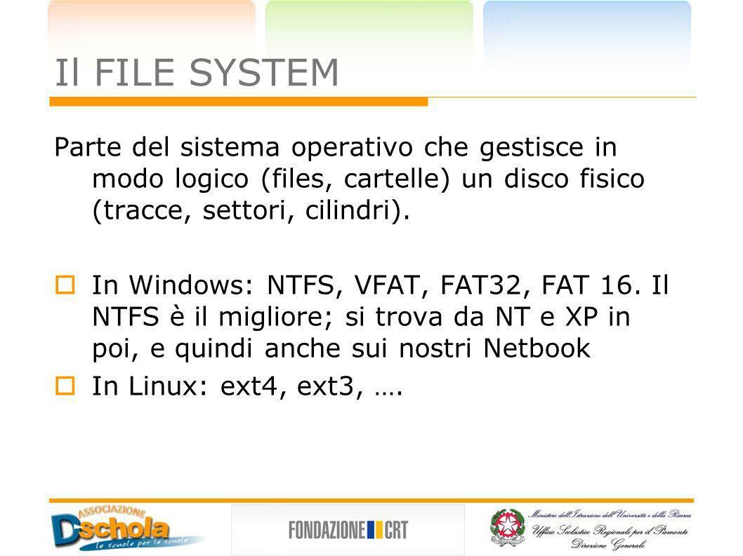 Il FILE SYSTEM Parte del sistema operativo che gestisce in modo logico (files, cartelle) un disco fisico (tracce, settori, cilindri). In Windows: NTFS