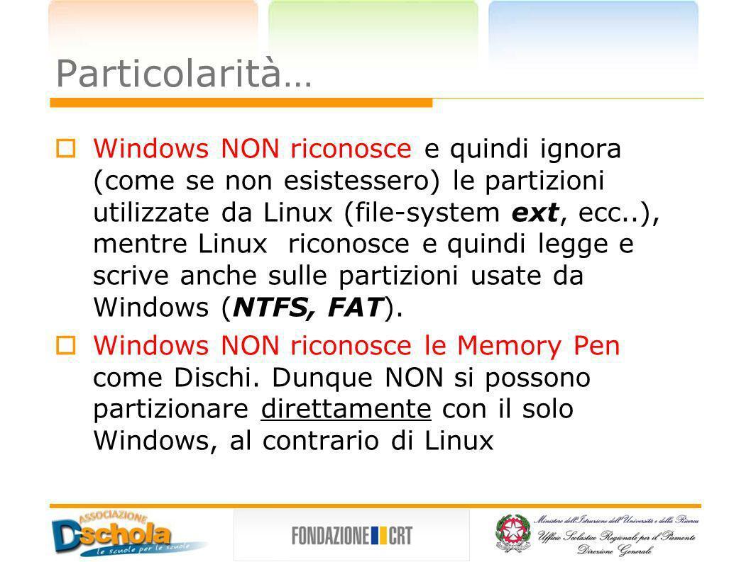Particolarità… Windows NON riconosce e quindi ignora (come se non esistessero) le partizioni utilizzate da Linux (file-system ext, ecc..), mentre Linu