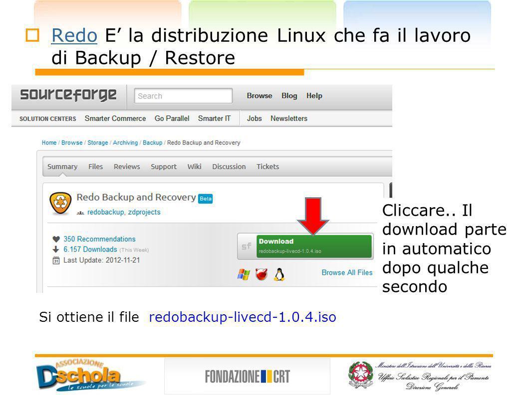 Redo E la distribuzione Linux che fa il lavoro di Backup / Restore Redo Cliccare.. Il download parte in automatico dopo qualche secondo Si ottiene il