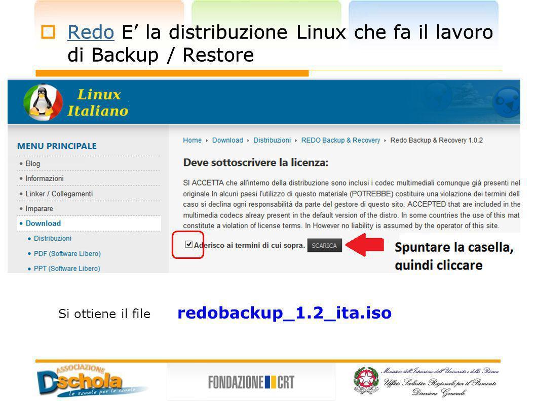 Redo E la distribuzione Linux che fa il lavoro di Backup / Restore Redo Si ottiene il file redobackup_1.2_ita.iso Redo E la distribuzione Linux che fa