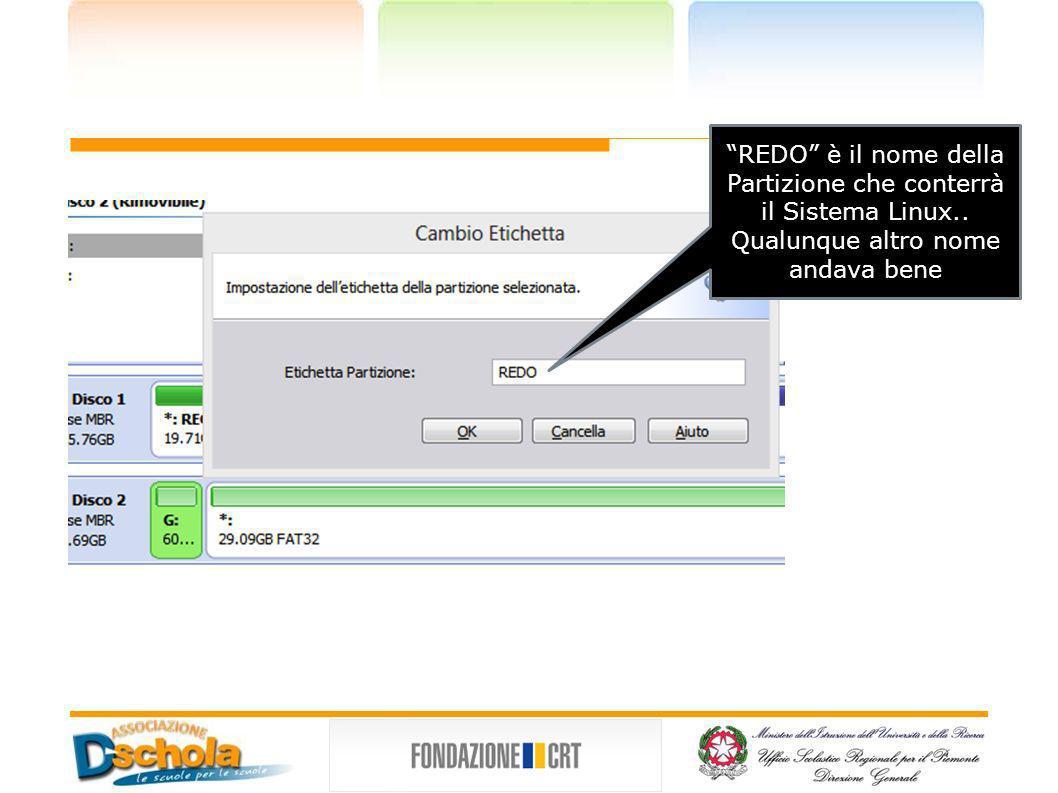 REDO è il nome della Partizione che conterrà il Sistema Linux.. Qualunque altro nome andava bene