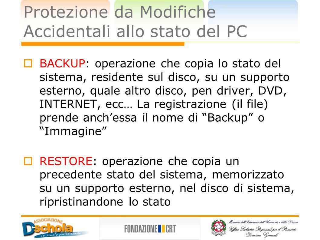 Protezione da Modifiche Accidentali allo stato del PC BACKUP: operazione che copia lo stato del sistema, residente sul disco, su un supporto esterno,