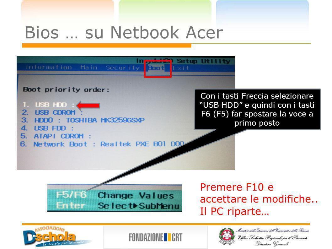 Bios … su Netbook Acer Con i tasti Freccia selezionare USB HDD e quindi con i tasti F6 (F5) far spostare la voce a primo posto Premere F10 e accettare