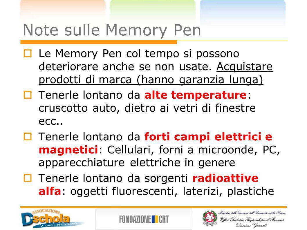 Note sulle Memory Pen Le Memory Pen col tempo si possono deteriorare anche se non usate. Acquistare prodotti di marca (hanno garanzia lunga) Tenerle l