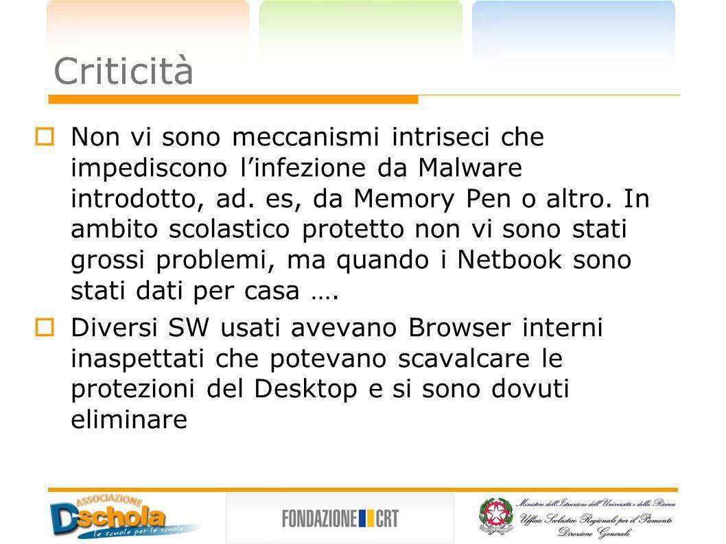 Criticità Non vi sono meccanismi intriseci che impediscono linfezione da Malware introdotto, ad. es, da Memory Pen o altro. In ambito scolastico prote