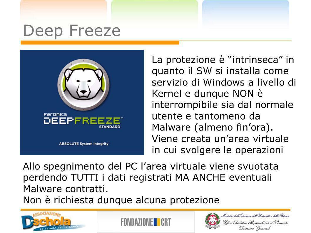 Deep Freeze La protezione è intrinseca in quanto il SW si installa come servizio di Windows a livello di Kernel e dunque NON è interrompibile sia dal
