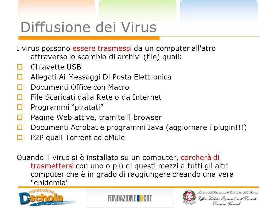Diffusione dei Virus I virus possono essere trasmessi da un computer all'atro attraverso lo scambio di archivi (file) quali: Chiavette USB Chiavette U