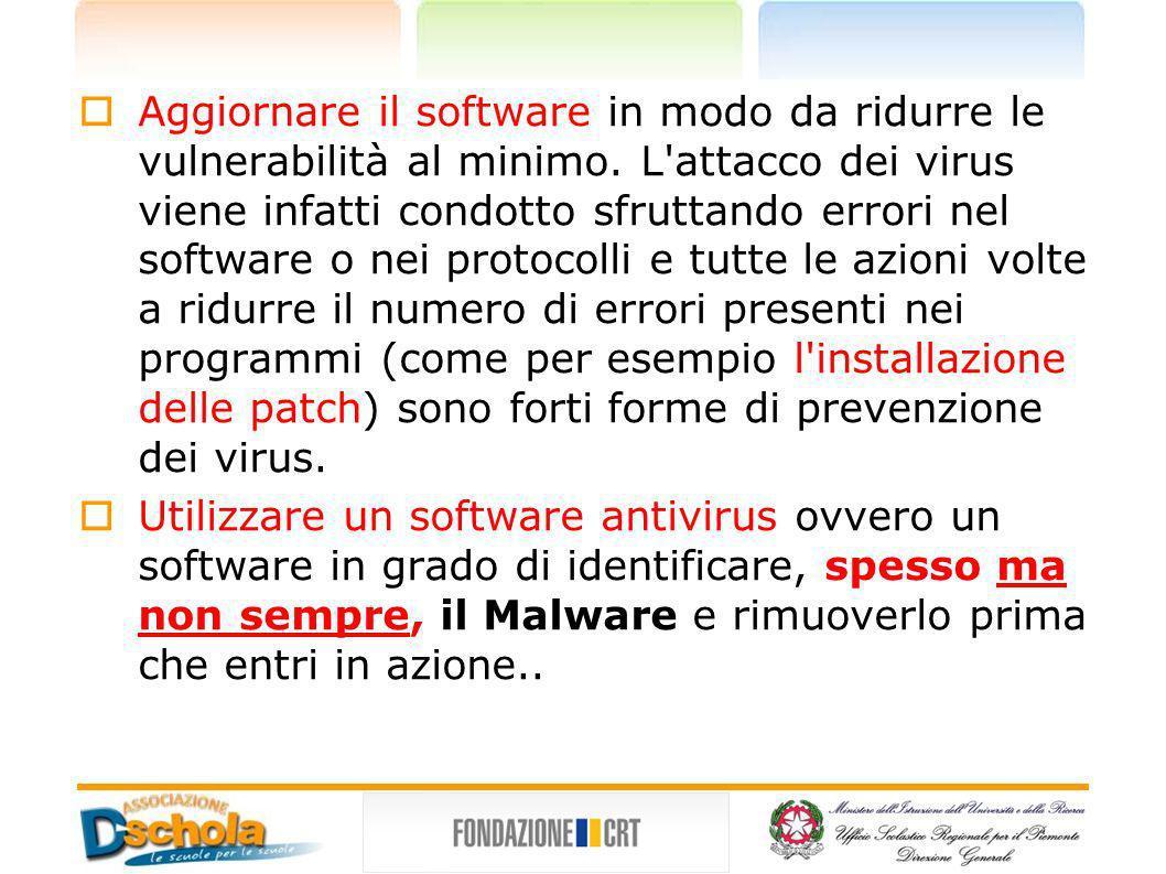 Aggiornare il software l'installazione delle patch Aggiornare il software in modo da ridurre le vulnerabilità al minimo. L'attacco dei virus viene inf