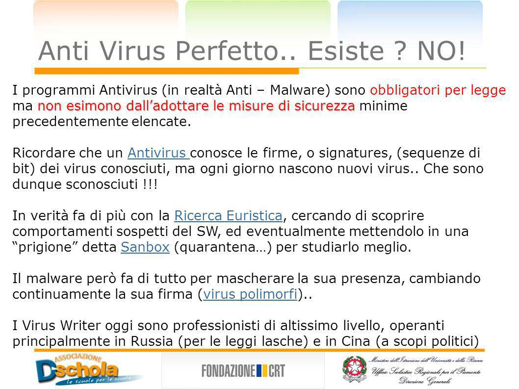 Anti Virus Perfetto..Esiste . NO.