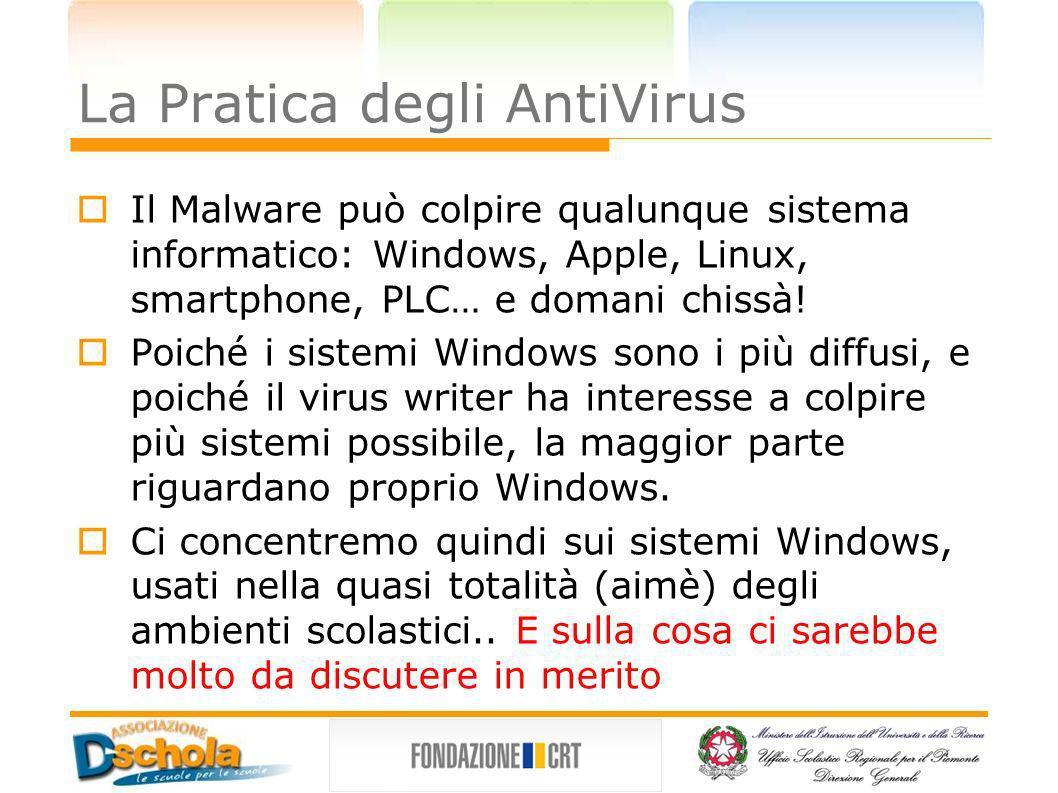 La Pratica degli AntiVirus Il Malware può colpire qualunque sistema informatico: Windows, Apple, Linux, smartphone, PLC… e domani chissà! Poiché i sis