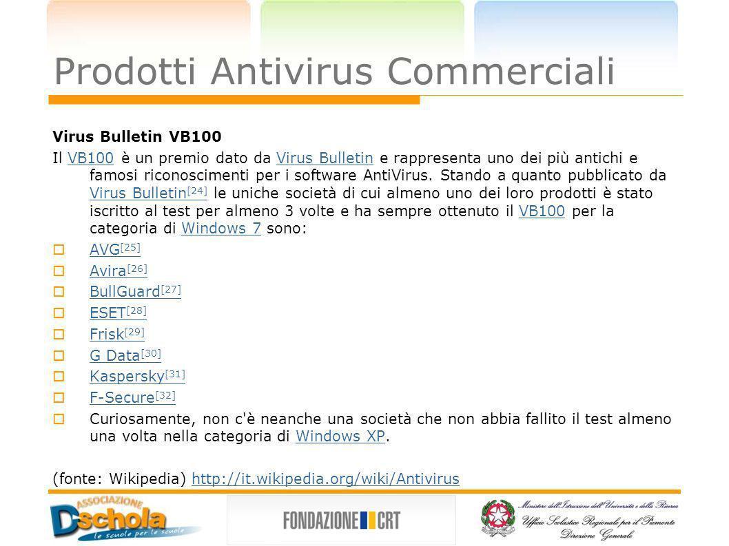 Prodotti Antivirus Commerciali Virus Bulletin VB100 Il VB100 è un premio dato da Virus Bulletin e rappresenta uno dei più antichi e famosi riconoscime