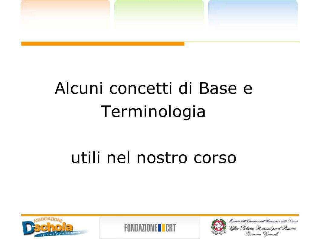 Alcuni concetti di Base e Terminologia utili nel nostro corso