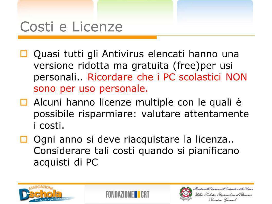 Costi e Licenze Quasi tutti gli Antivirus elencati hanno una versione ridotta ma gratuita (free)per usi personali.. Ricordare che i PC scolastici NON