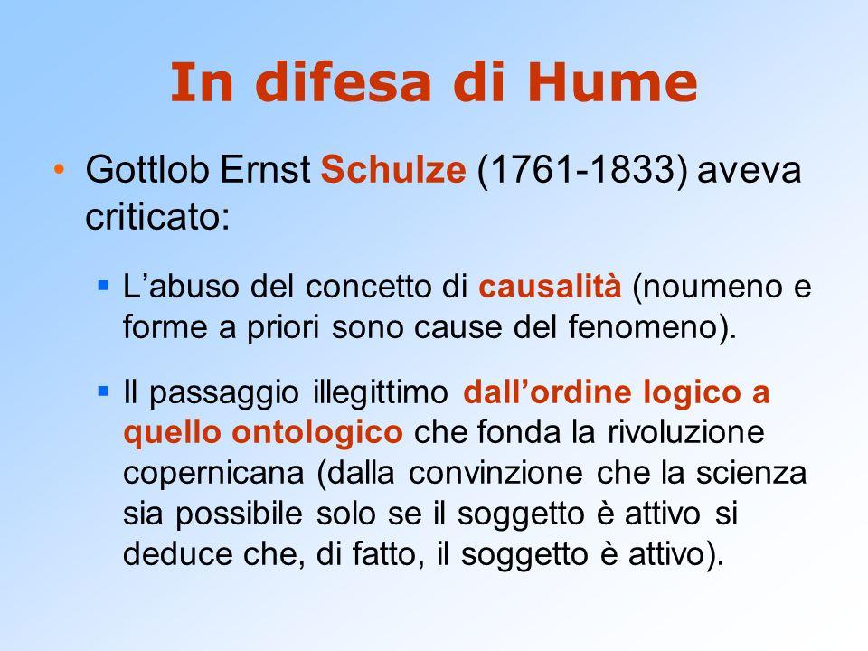 In difesa di Hume Gottlob Ernst Schulze (1761-1833) aveva criticato: Labuso del concetto di causalità (noumeno e forme a priori sono cause del fenomen
