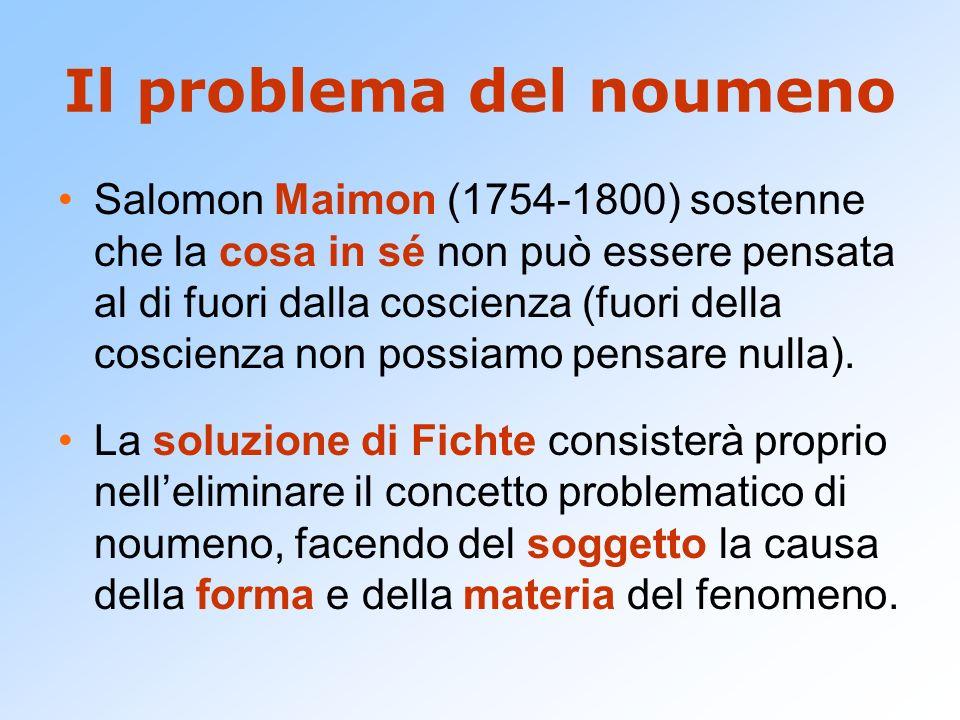 Il problema del noumeno Salomon Maimon (1754-1800) sostenne che la cosa in sé non può essere pensata al di fuori dalla coscienza (fuori della coscienz