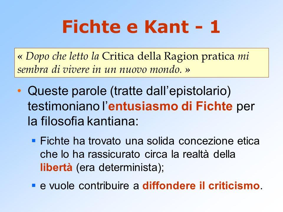 Fichte e Kant - 1 Queste parole (tratte dallepistolario) testimoniano lentusiasmo di Fichte per la filosofia kantiana: Fichte ha trovato una solida co