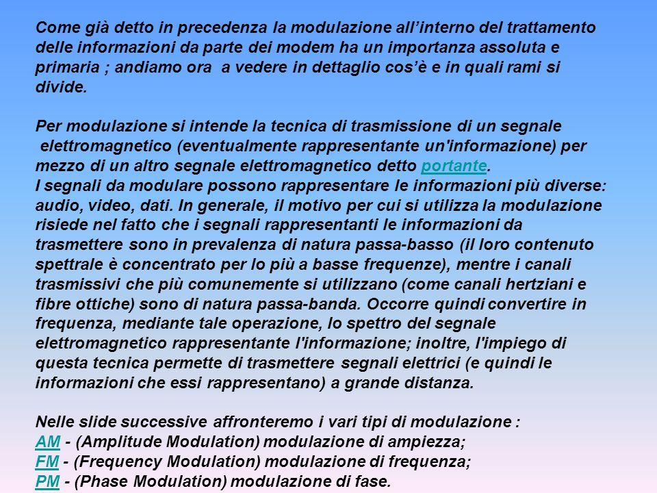 Come già detto in precedenza la modulazione allinterno del trattamento delle informazioni da parte dei modem ha un importanza assoluta e primaria ; an