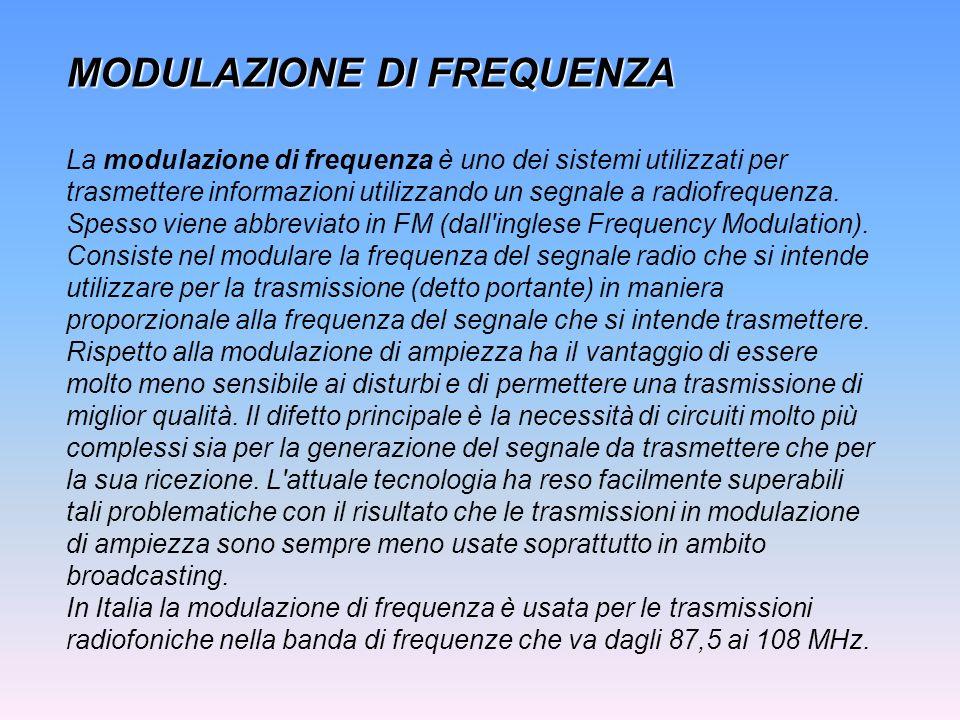 MODULAZIONE DI FREQUENZA La modulazione di frequenza è uno dei sistemi utilizzati per trasmettere informazioni utilizzando un segnale a radiofrequenza