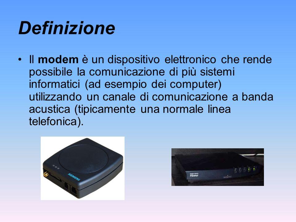 Definizione Il modem è un dispositivo elettronico che rende possibile la comunicazione di più sistemi informatici (ad esempio dei computer) utilizzand