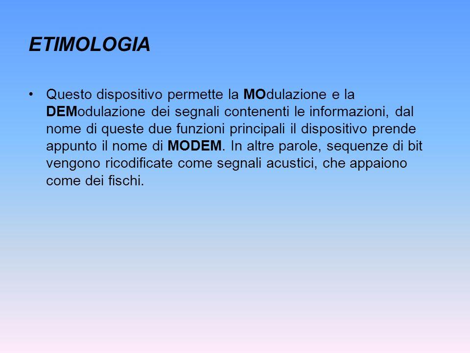 ETIMOLOGIA Questo dispositivo permette la MOdulazione e la DEModulazione dei segnali contenenti le informazioni, dal nome di queste due funzioni princ