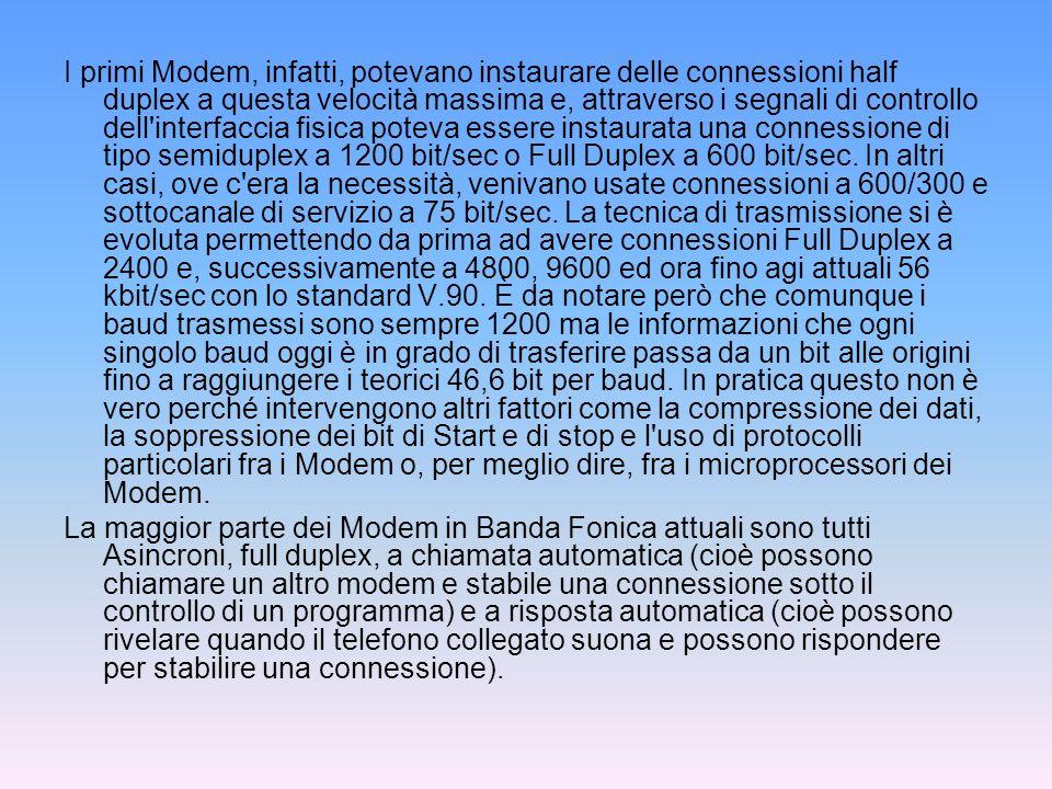 MODEM A BANDA LARGA Si tratta di modem che utilizzano i 48 KHZ della banda 60- 108KhZ del multiplexer primario telefonico per implementare collegamenti i banda traslata ad alta velocità.