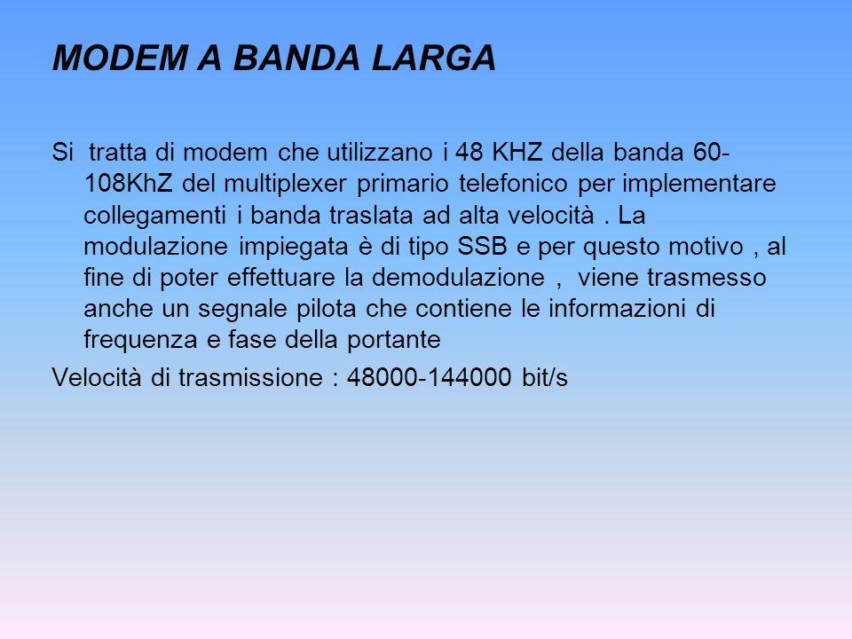 MODEM A BANDA LARGA Si tratta di modem che utilizzano i 48 KHZ della banda 60- 108KhZ del multiplexer primario telefonico per implementare collegament