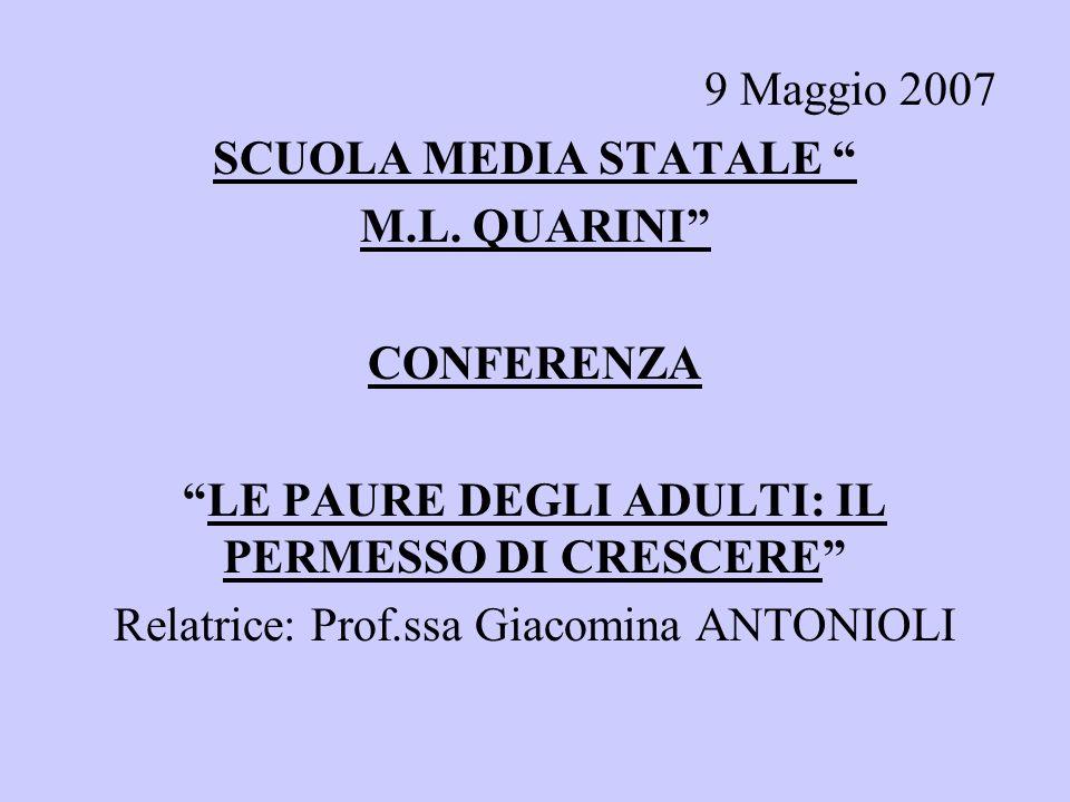 9 Maggio 2007 SCUOLA MEDIA STATALE M.L. QUARINI CONFERENZA LE PAURE DEGLI ADULTI: IL PERMESSO DI CRESCERE Relatrice: Prof.ssa Giacomina ANTONIOLI