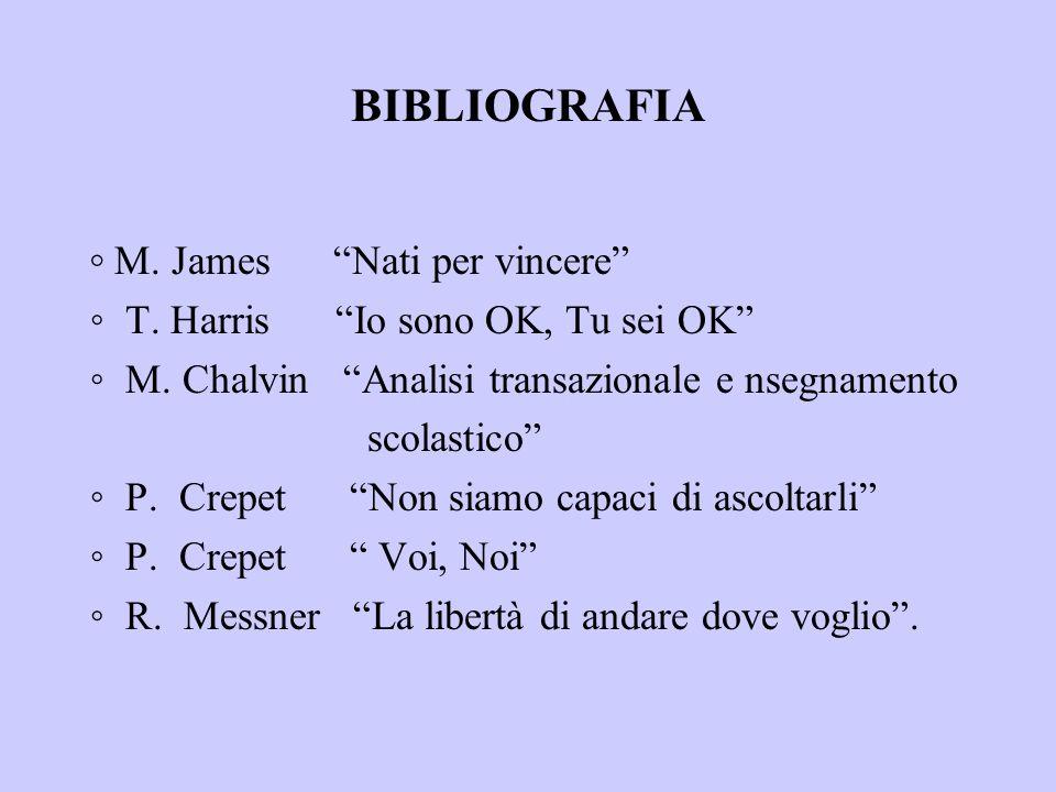 BIBLIOGRAFIA M. James Nati per vincere T. Harris Io sono OK, Tu sei OK M. Chalvin Analisi transazionale e nsegnamento scolastico P. Crepet Non siamo c