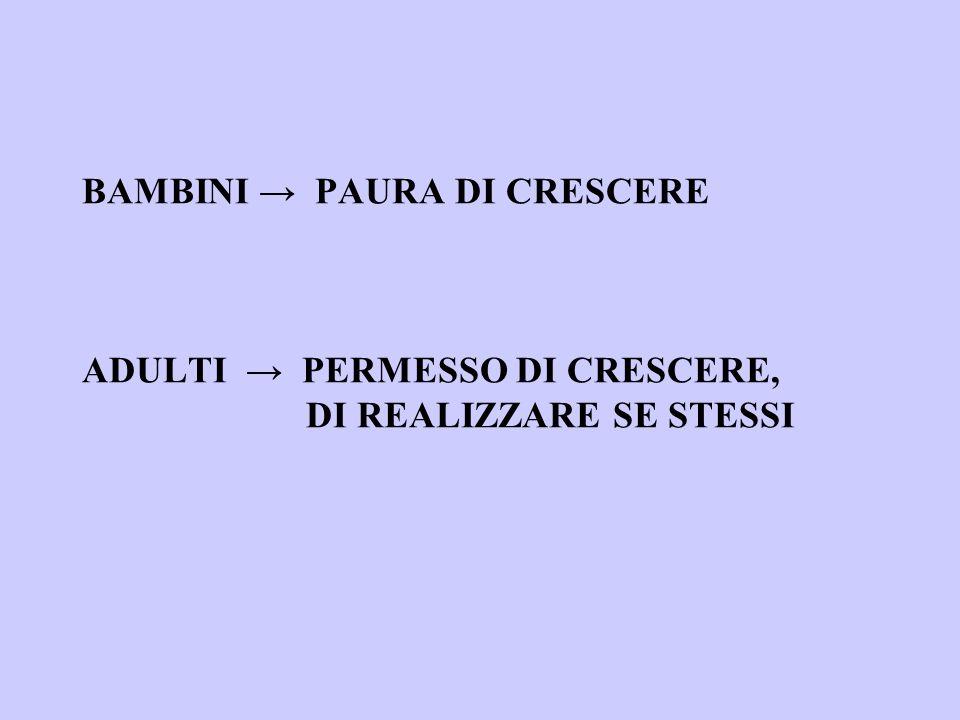 BAMBINI PAURA DI CRESCERE ADULTI PERMESSO DI CRESCERE, DI REALIZZARE SE STESSI