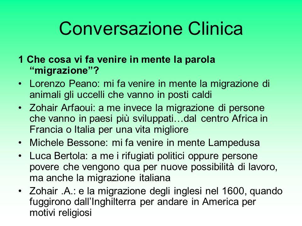 Conversazione Clinica 1 Che cosa vi fa venire in mente la parola migrazione.
