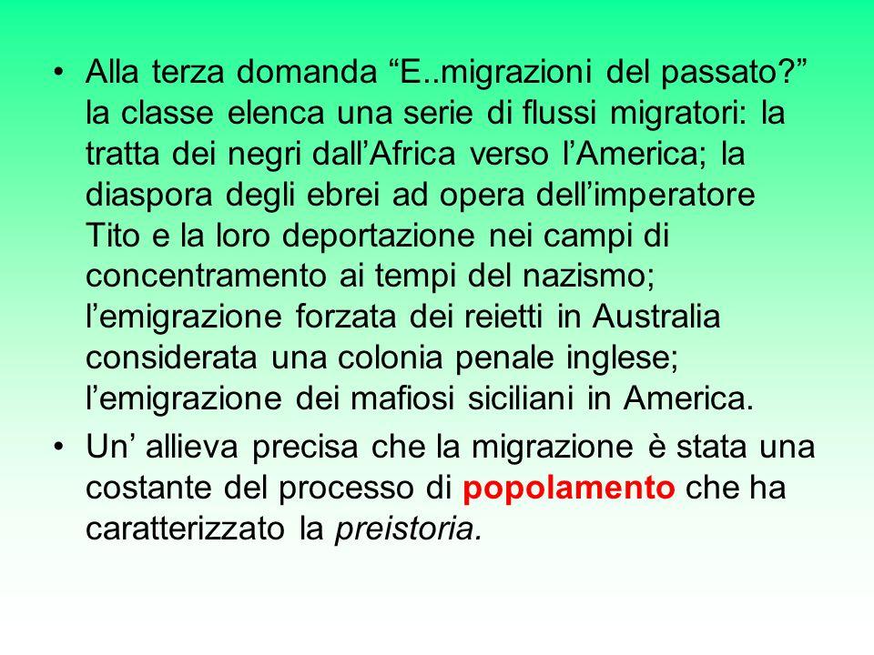 Alla terza domanda E..migrazioni del passato.