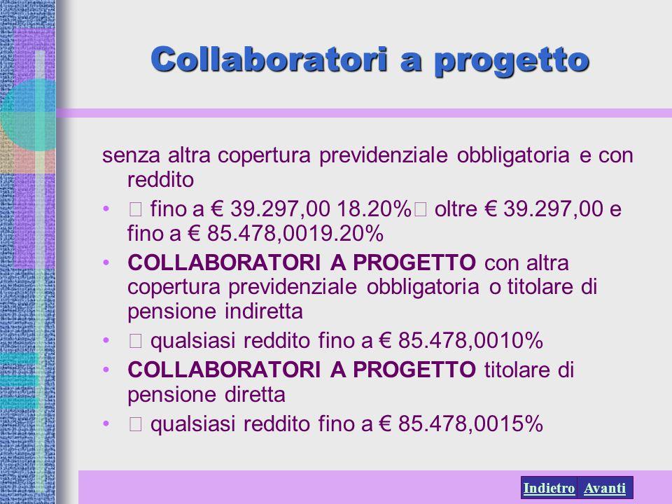 AvantiIndietro Collaboratori a progetto senza altra copertura previdenziale obbligatoria e con reddito fino a 39.297,00 18.20% oltre 39.297,00 e fino