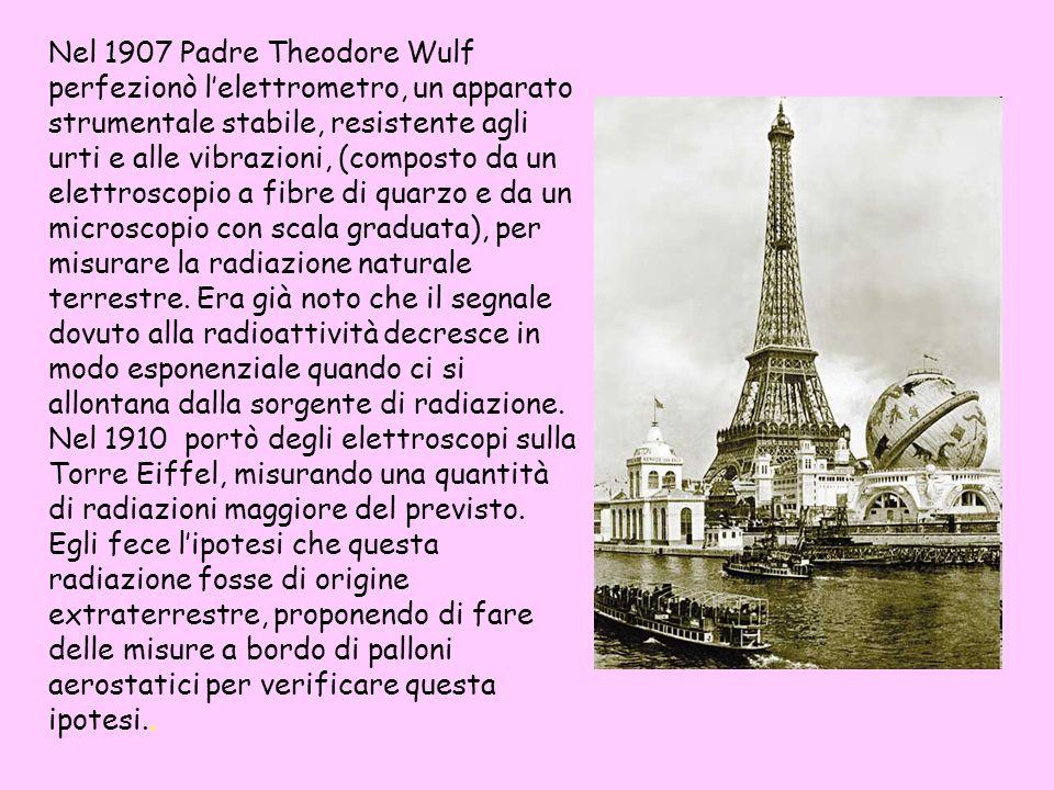 Nel 1907 Padre Theodore Wulf perfezionò lelettrometro, un apparato strumentale stabile, resistente agli urti e alle vibrazioni, (composto da un elettr
