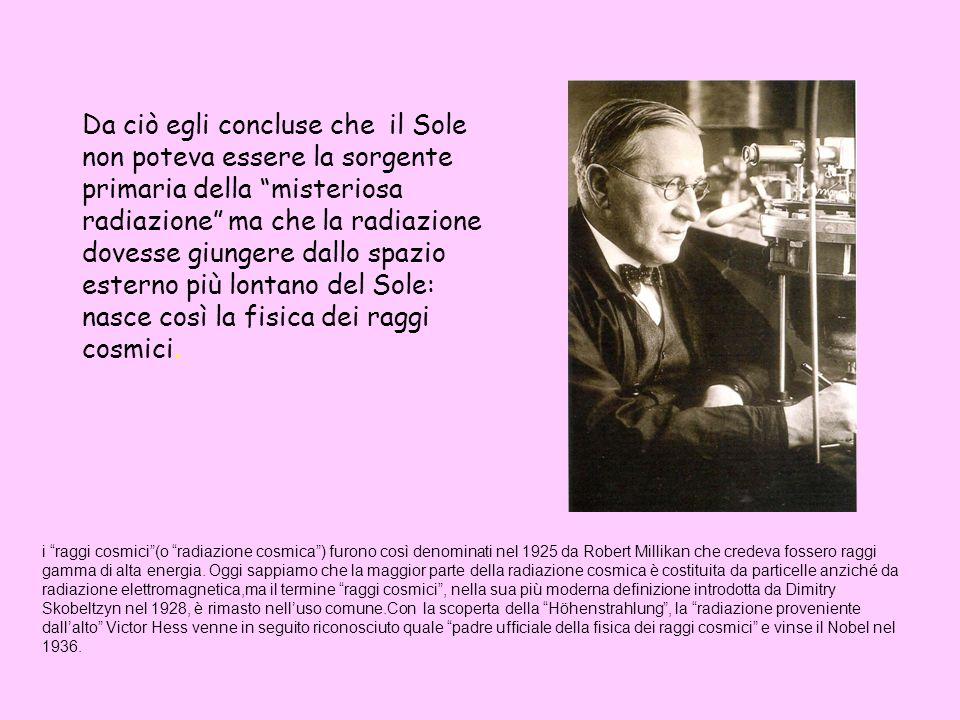Da ciò egli concluse che il Sole non poteva essere la sorgente primaria della misteriosa radiazione ma che la radiazione dovesse giungere dallo spazio