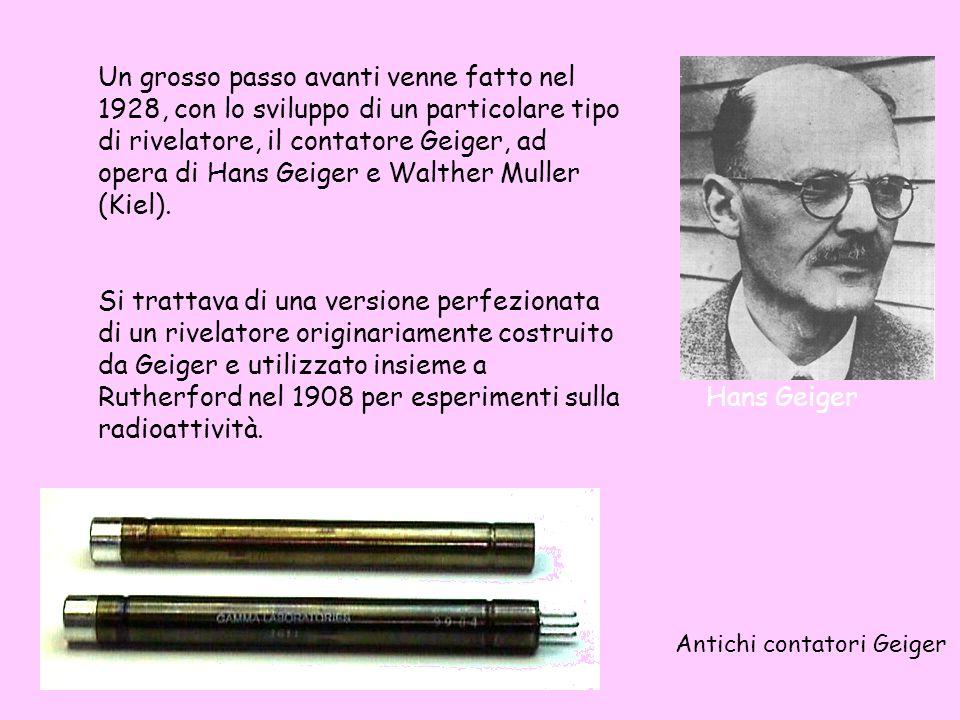 Un grosso passo avanti venne fatto nel 1928, con lo sviluppo di un particolare tipo di rivelatore, il contatore Geiger, ad opera di Hans Geiger e Walt