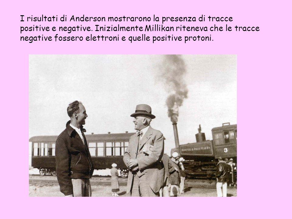 I risultati di Anderson mostrarono la presenza di tracce positive e negative. Inizialmente Millikan riteneva che le tracce negative fossero elettroni