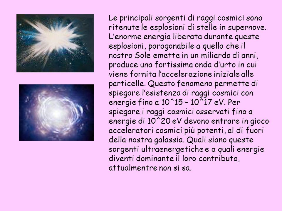 Le principali sorgenti di raggi cosmici sono ritenute le esplosioni di stelle in supernove. Lenorme energia liberata durante queste esplosioni, parago