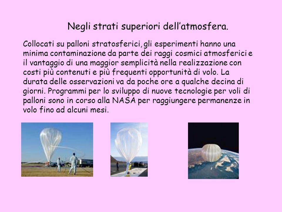 Negli strati superiori dellatmosfera. Collocati su palloni stratosferici, gli esperimenti hanno una minima contaminazione da parte dei raggi cosmici a