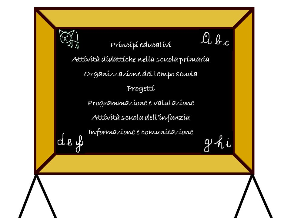 Principi educativi Attività didattiche nella scuola primaria Organizzazione del tempo scuola Progetti Programmazione e valutazione Attività scuola dellinfanzia Informazione e comunicazione