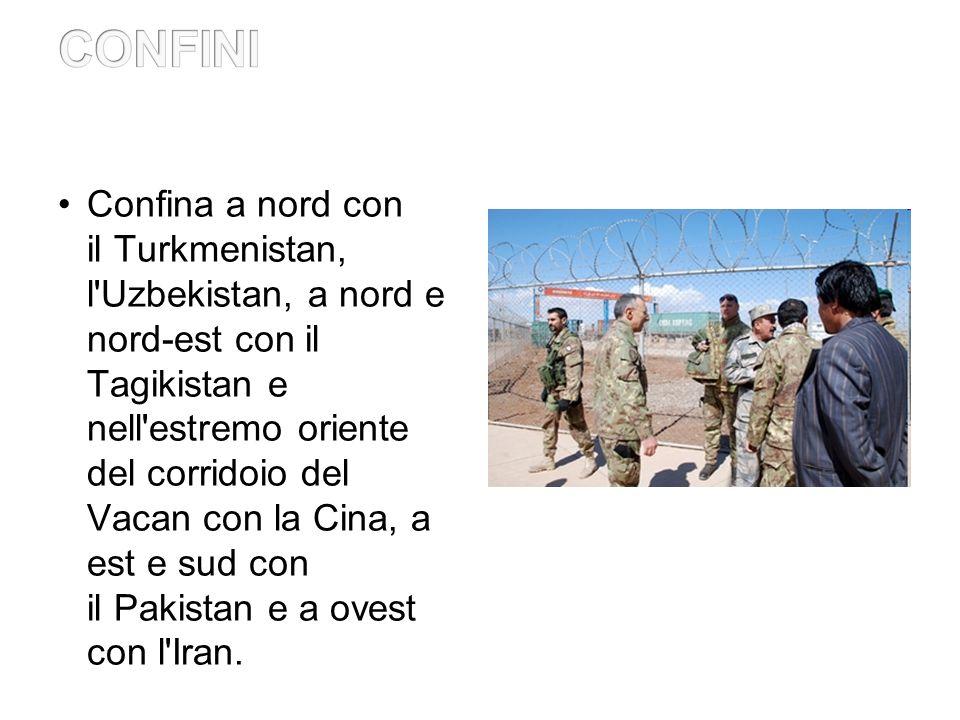 Confina a nord con il Turkmenistan, l Uzbekistan, a nord e nord-est con il Tagikistan e nell estremo oriente del corridoio del Vacan con la Cina, a est e sud con il Pakistan e a ovest con l Iran.
