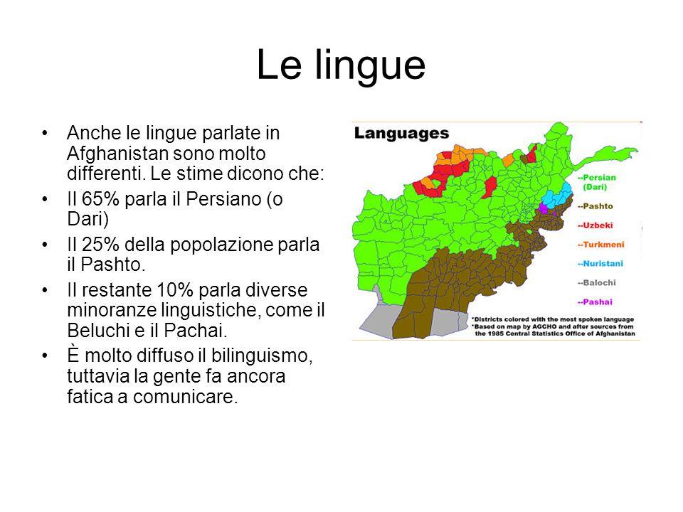 Le lingue Anche le lingue parlate in Afghanistan sono molto differenti.