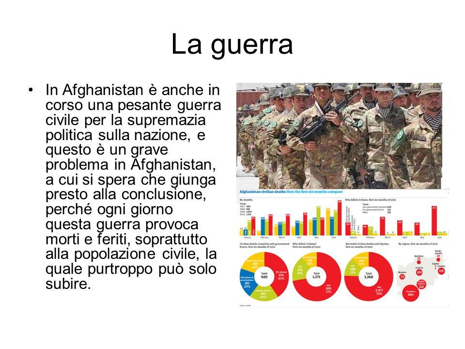La guerra In Afghanistan è anche in corso una pesante guerra civile per la supremazia politica sulla nazione, e questo è un grave problema in Afghanistan, a cui si spera che giunga presto alla conclusione, perché ogni giorno questa guerra provoca morti e feriti, soprattutto alla popolazione civile, la quale purtroppo può solo subire.