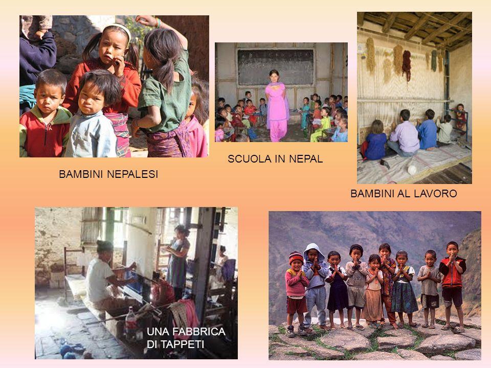 UNA FABBRICA DI TAPPETI BAMBINI AL LAVORO SCUOLA IN NEPAL BAMBINI NEPALESI