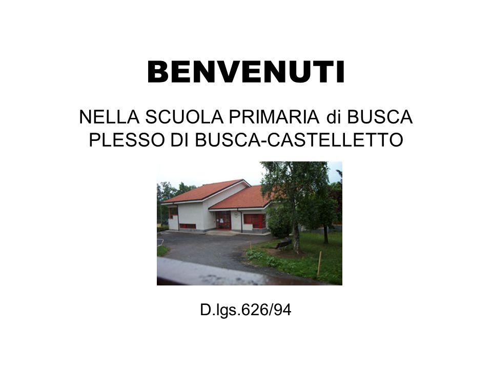 BENVENUTI NELLA SCUOLA PRIMARIA di BUSCA PLESSO DI BUSCA-CASTELLETTO D.lgs.626/94