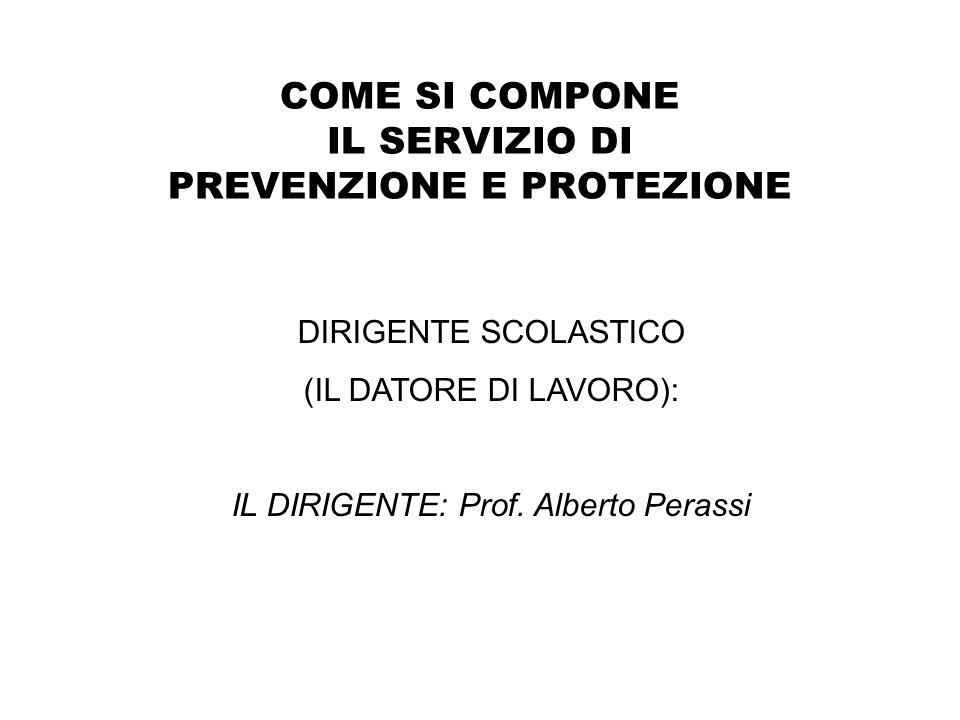 COME SI COMPONE IL SERVIZIO DI PREVENZIONE E PROTEZIONE DIRIGENTE SCOLASTICO (IL DATORE DI LAVORO): IL DIRIGENTE: Prof. Alberto Perassi