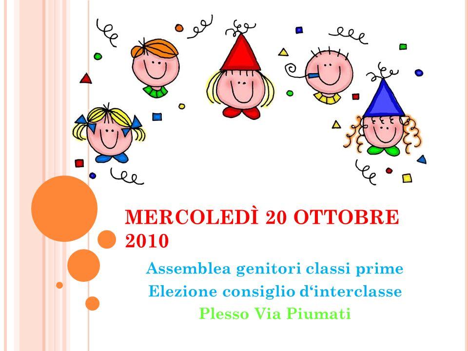 MERCOLEDÌ 20 OTTOBRE 2010 Assemblea genitori classi prime Elezione consiglio dinterclasse Plesso Via Piumati
