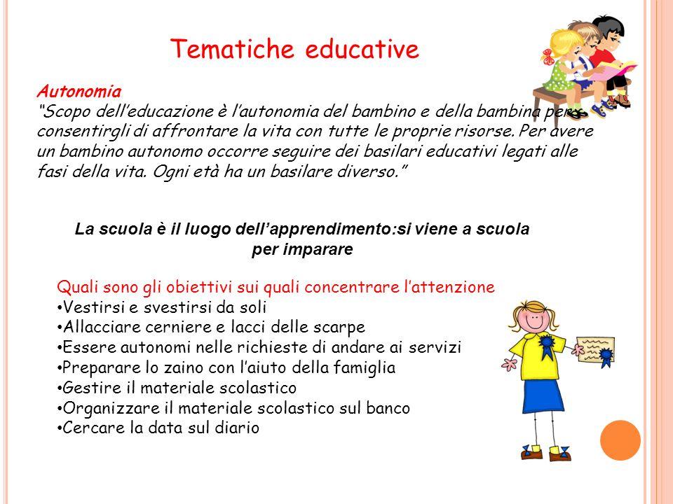 Tematiche educative Autonomia Scopo delleducazione è lautonomia del bambino e della bambina per consentirgli di affrontare la vita con tutte le proprie risorse.