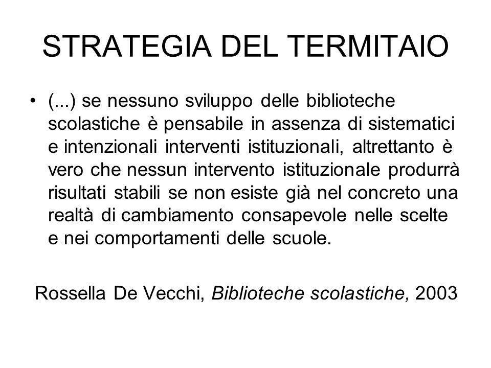 STRATEGIA DEL TERMITAIO (...) se nessuno sviluppo delle biblioteche scolastiche è pensabile in assenza di sistematici e intenzionali interventi istitu