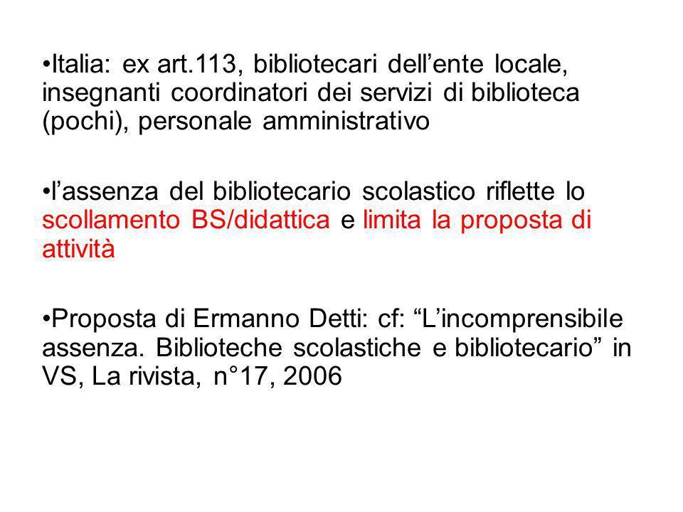 Italia: ex art.113, bibliotecari dellente locale, insegnanti coordinatori dei servizi di biblioteca (pochi), personale amministrativo lassenza del bib