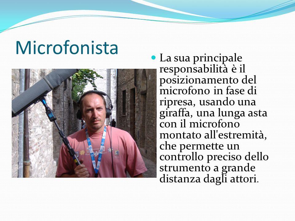 Microfonista La sua principale responsabilità è il posizionamento del microfono in fase di ripresa, usando una giraffa, una lunga asta con il microfon